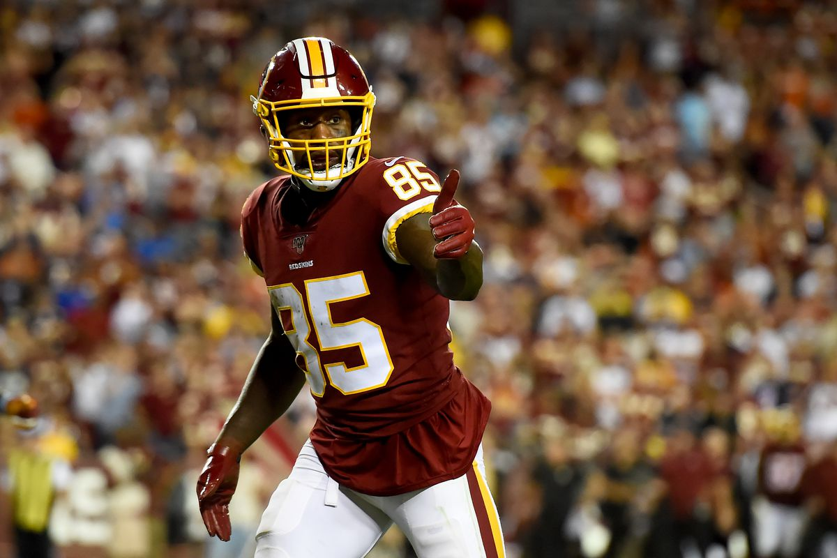 Washington tight end Vernon Davis looks on against the Chicago Bears during the second half at FedExField on September 23, 2019 in Landover, Maryland.