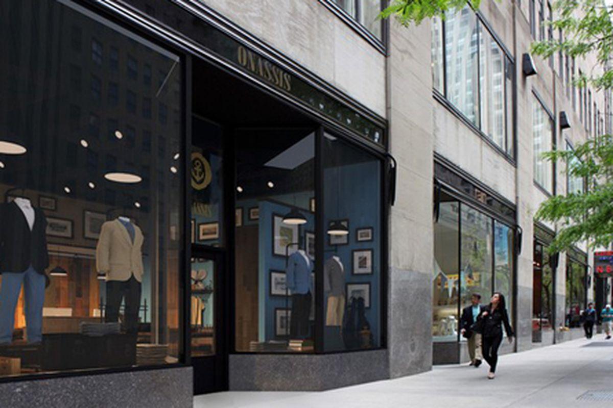 """Rendering via <a href=""""http://www.wwd.com/menswear-news/retail-business/onassis-clothing-to-open-in-rockefeller-center-5980348"""">WWD</a>"""