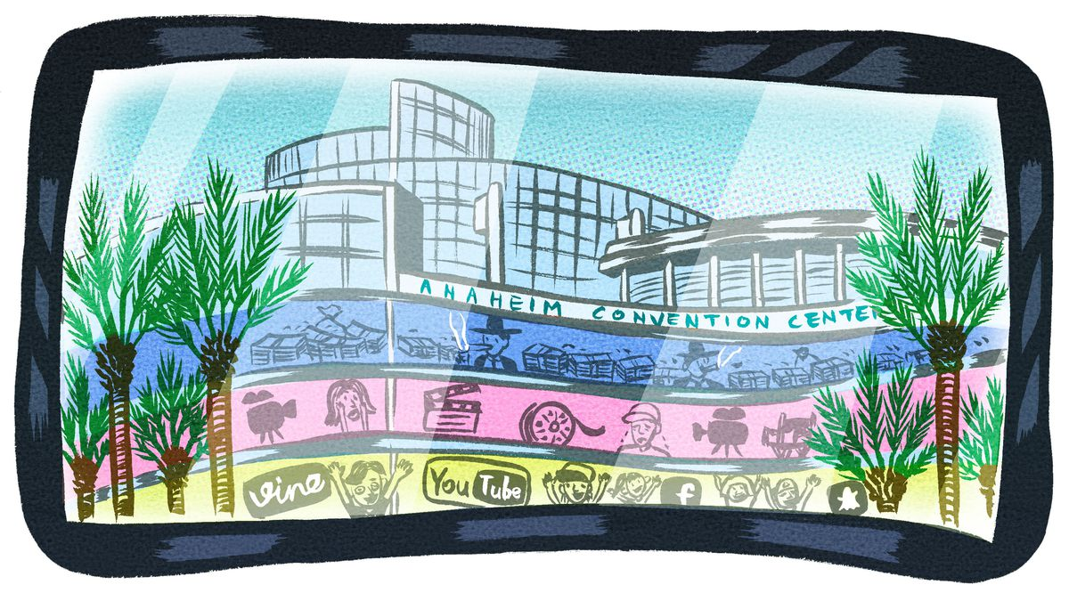 Illustration of the exterior of the Anaheim Convention Center