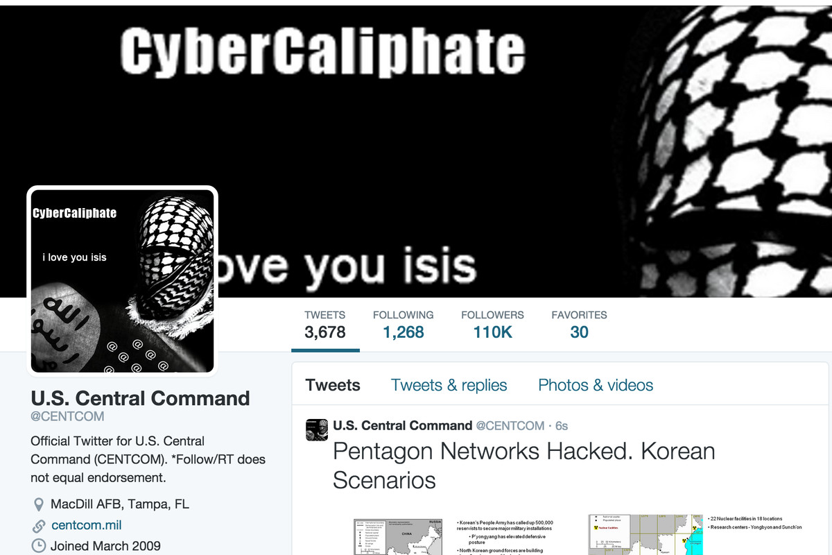 How the CENTCOM account appeared after it was hacked.