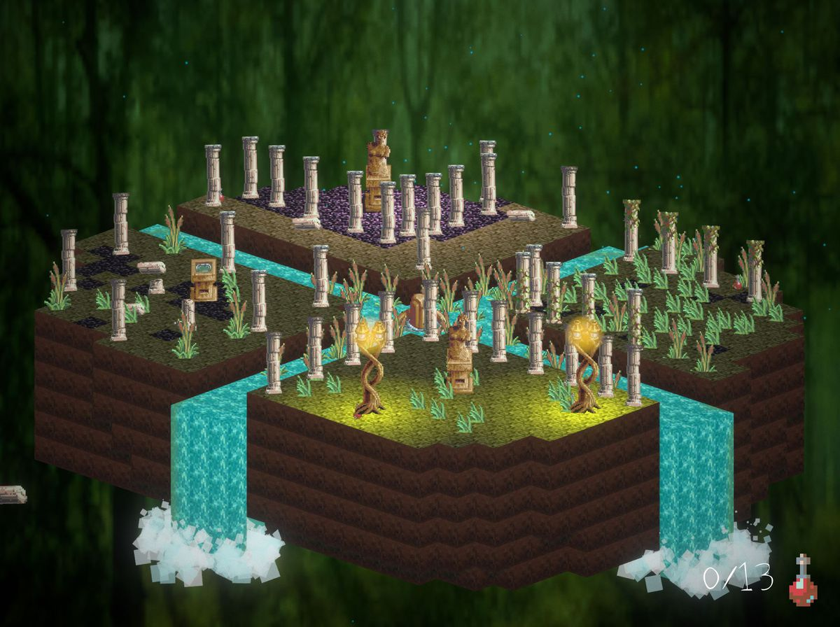 an isometric scene with waterfalls and trees