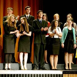 Finalists in the speech and drama category take the stage at Cottonwood High School during the Sterling Scholar awards ceremony on Wednesday night.