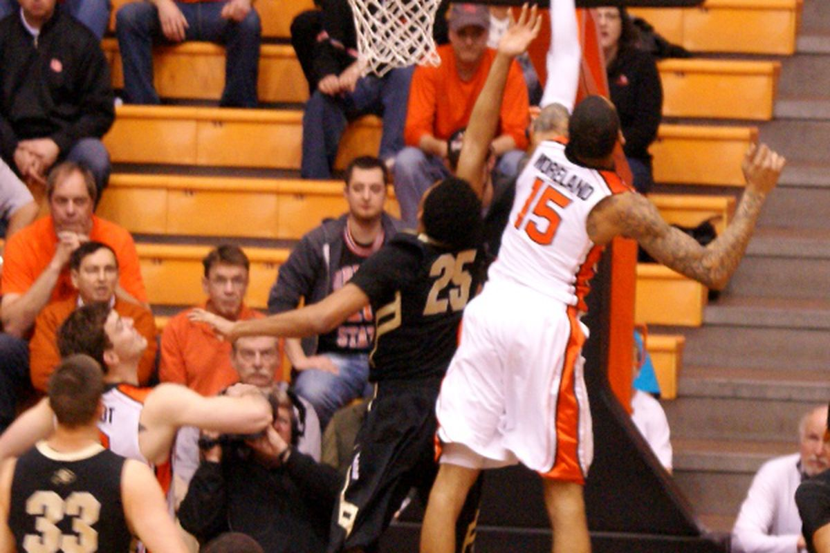 Eric Moreland's length and rebounding might be key for Oregon St. as they face Colorado, and the nation's leading rebounder in the Buffs' Andre Roberson.