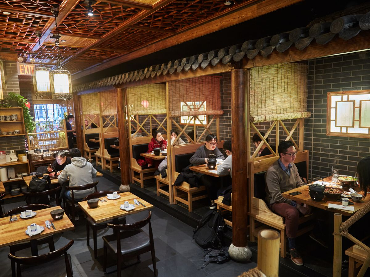 Szechuan Mountain House's dining room, inspired by villages in the mountains