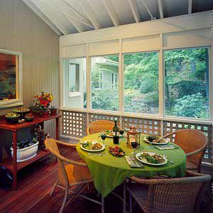<p>Casement windows not only bring some light into the kitchen but they also act as step-saving pass-throughs between kitchen and porch.</p>