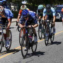 A breakaway consisting of six competitors rides through a neighborhood during Stage 3 of the Tour of Utah near Layton on Thursday, Aug. 15, 2019. The breakaway persisted through most of the race before being absorbed near the end of the race.