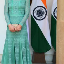 Wearing a Temperley London dress, an L.K. Bennett clutch and pumps, and Kiki McDonough earrings to a lunch event with India's Prime Minister Narendra Modi in New Delhi on April 12th, 2016.