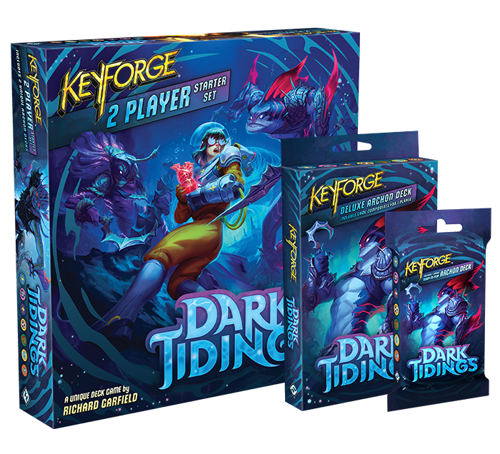 A selection of products for Keyforge: Dark Tidings, including unique packs and a starter set.