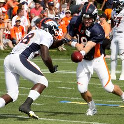 Peyton Manning 'sees' the ball into the arms of Montee Ball