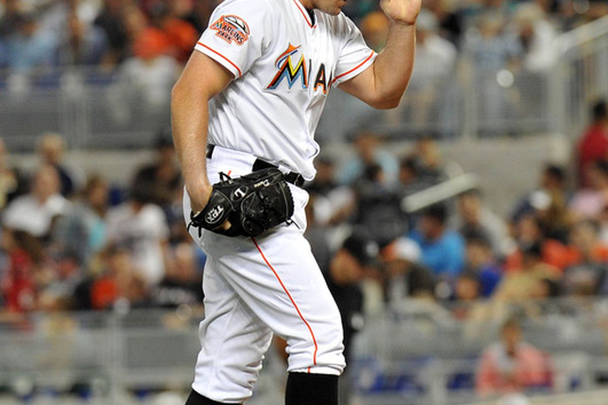 April 29, 2012; Miami, FL, USA; Miami Marlins relief pitcher Mike Dunn (40) against the Arizona Diamondbacks at Marlins Park. Mandatory Credit: Steve Mitchell-US PRESSWIRE