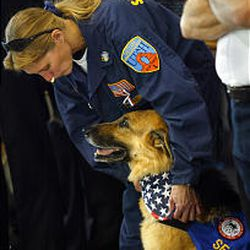 Attending ceremonies at the Utah Firefighters Museum and Memorial Complex were Nancy Hachmeister and her rescue dog Ivey, both of whom helped at ground zero in New York City.