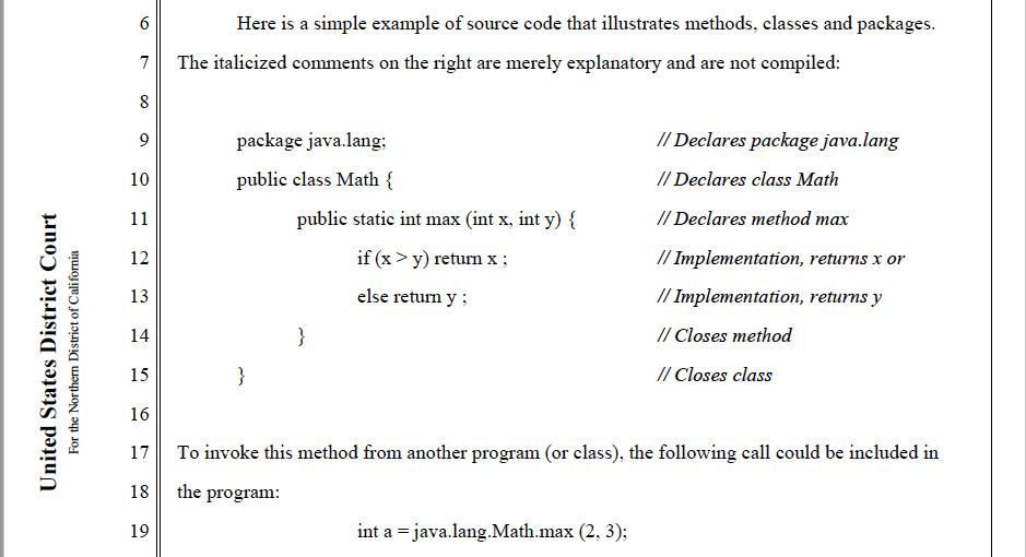 Зразок коду на думки судді Алсупа в 2012 році в «Oracle vs Google»