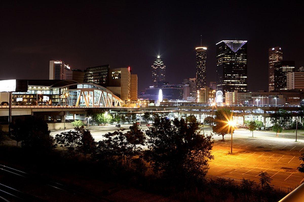 ATLANTA - JULY 17: Atlanta skyline at night as photographed from Marietta Street on July 17, 2015 in Atlanta, Georgia.