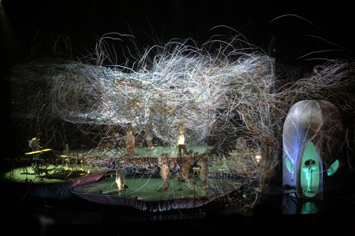 An elaborate sound chamber designed by Bjork.