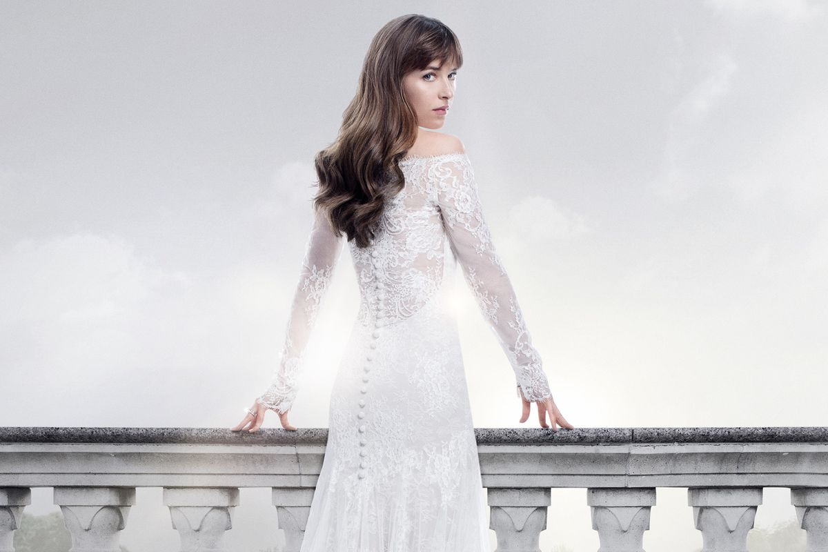 The Fifty Shades Freed Movie Poster Featuring Dakota Johnson S Ana In Her Monique Lhuillier Wedding Gown Photo Universal Pictures