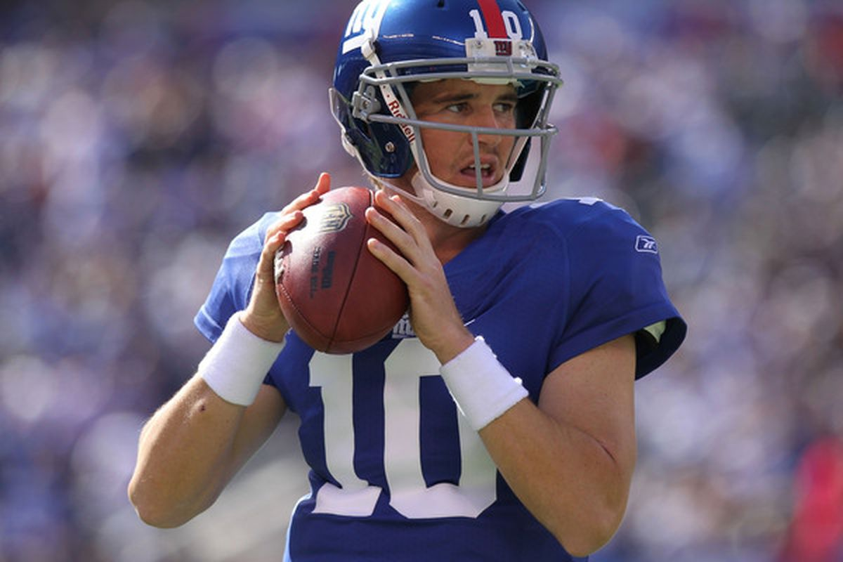Eli Manning of the New York Giants against the Detroit Lions at New Meadowlands Stadium on October 17 2010 in East Rutherford New Jersey.  (Photo by Nick Laham/Getty Images)