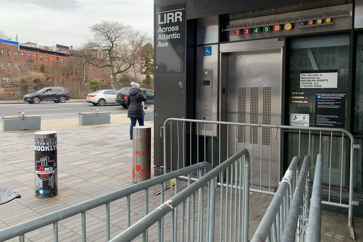 A privately-maintained elevator at the Barclays Center