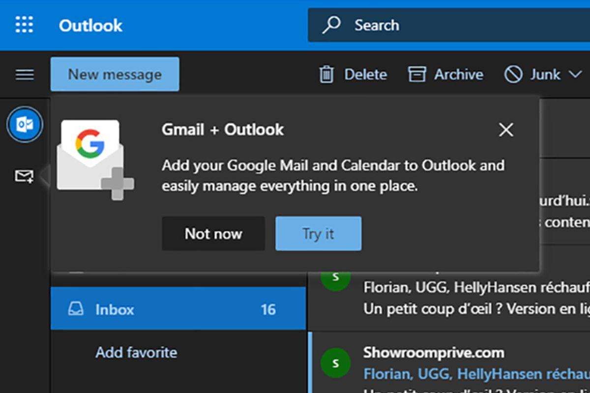 Microsoft teste l'intégration de Gmail