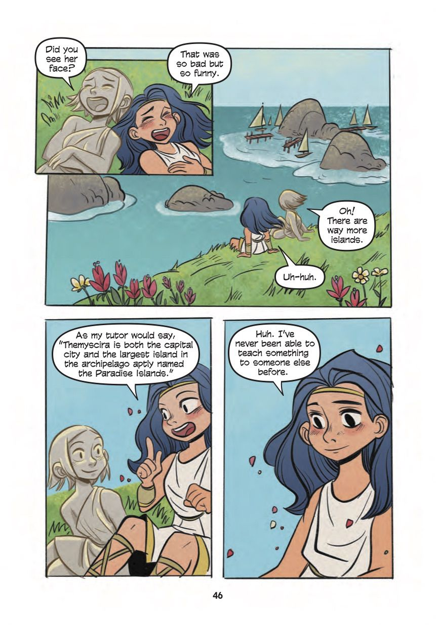 Diana teaches her new friend about the Paradise Islands, of which Themyscira is only one, in Diana, Princess of the Amazons, DC Comics (2020).
