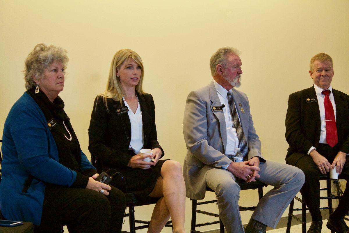 Sen. Nancy Todd, Rep. Brittany Pettersen, Rep. Jim Wilson and Sen. Tim Neville (Chalkbeat photo by Yesenia Robles).