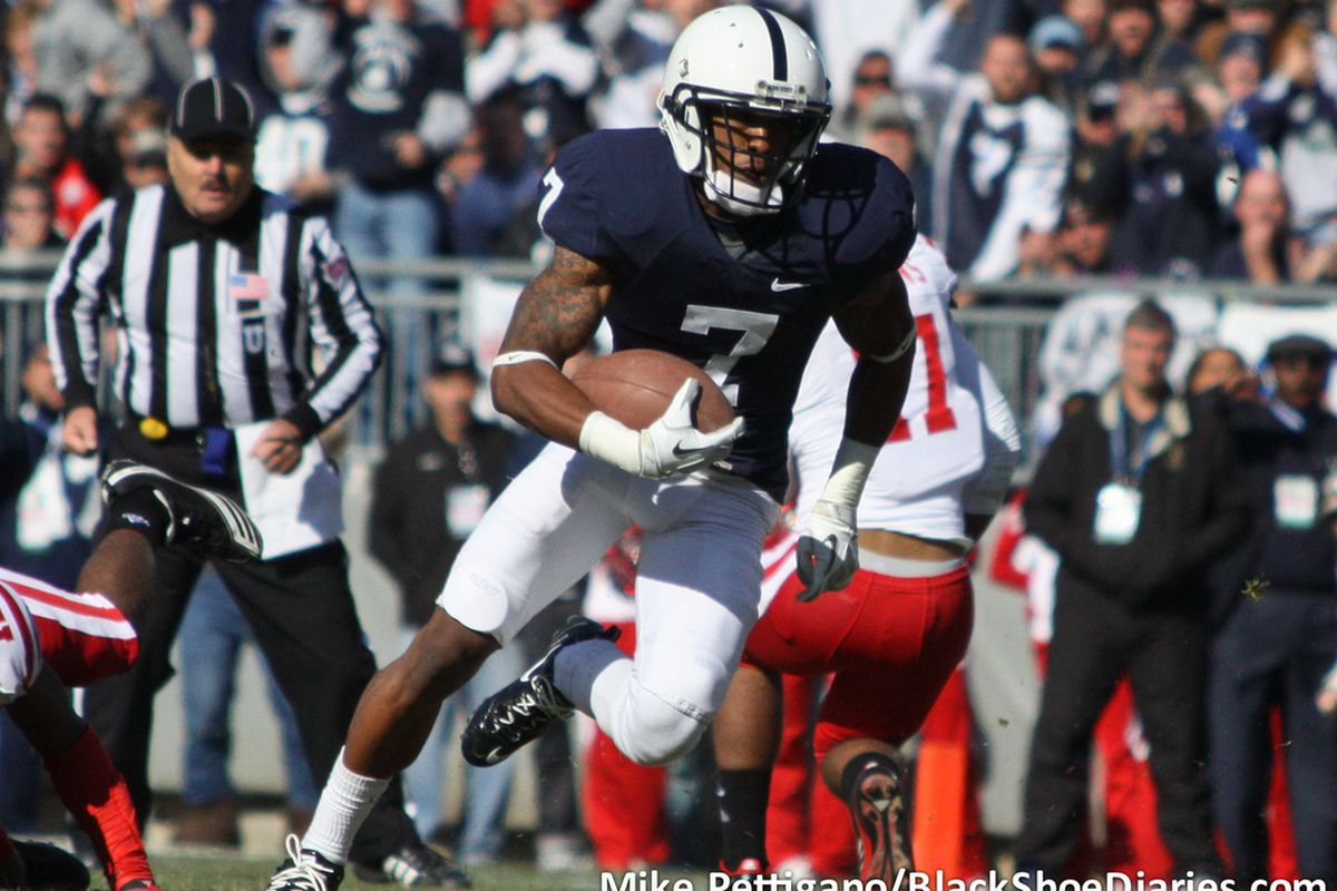 """Penn State will miss receiver/quarterback Curtis Drake for the 2012 TicketCity Bowl. <a href=""""http://www.flickr.com/photos/mikepettigano/6341880352/in/set-72157627996477069/"""">(Mike Pettigano/BSD)</a>"""