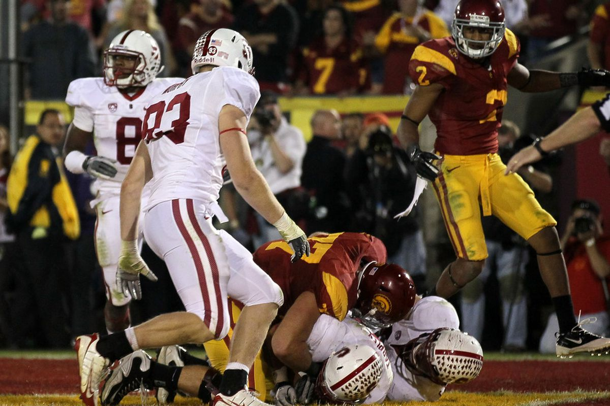 Jordan Richards (8) received some important playing time as a true freshman, including Stanford's triple-overtime win over USC. Without graduated seniors Delano Howell and Michael Thomas, Stanford may need him to take on a bigger role in 2012.