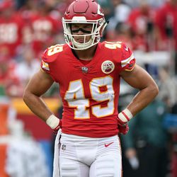 Kansas City Chiefs defensive back Daniel Sorensen (49) stand during a pause in the first half of an NFL football game against the Philadelphia Eagles in Kansas City, Mo., Sunday, Sept. 17, 2017. (AP Photo/Ed Zurga)