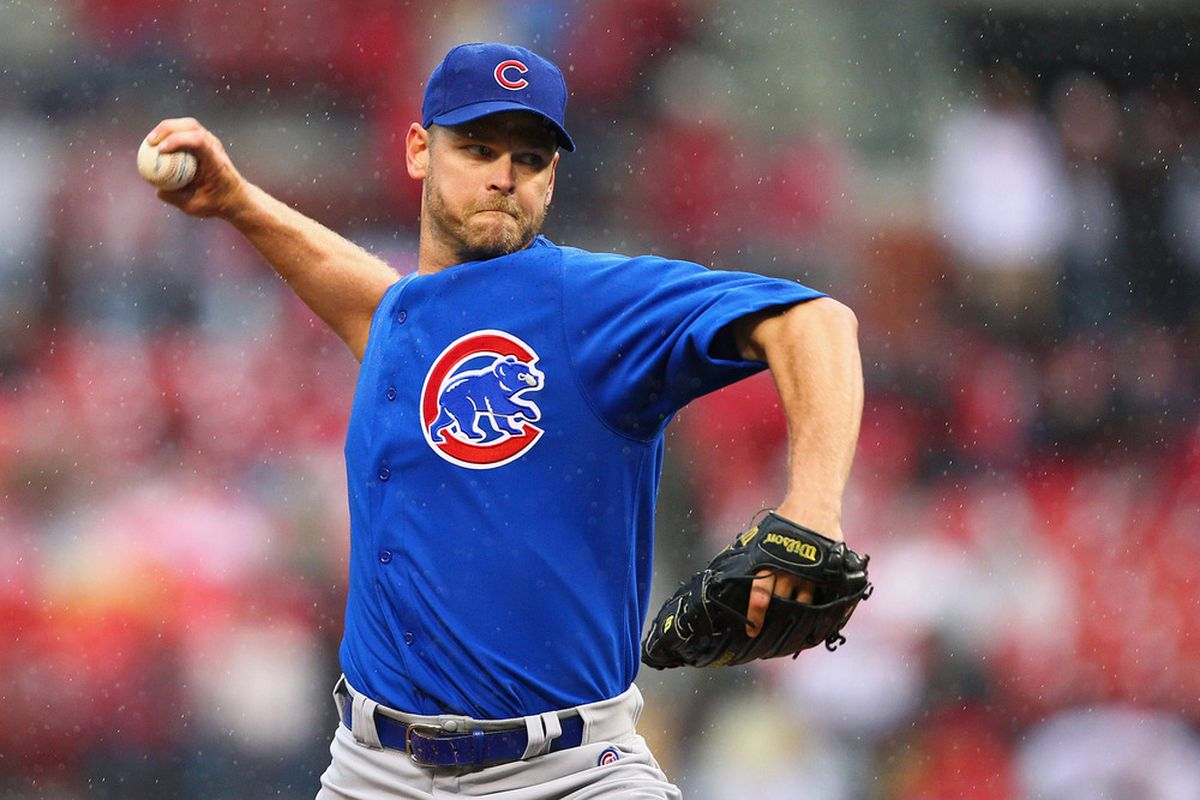 Reliever Kerry Wood of the Chicago Cubs pitches against the St. Louis Cardinals during the home-opening game at Busch Stadium in St. Louis, Missouri.  The Cubs beat the Cardinals 9-5.  (Photo by Dilip Vishwanat/Getty Images)