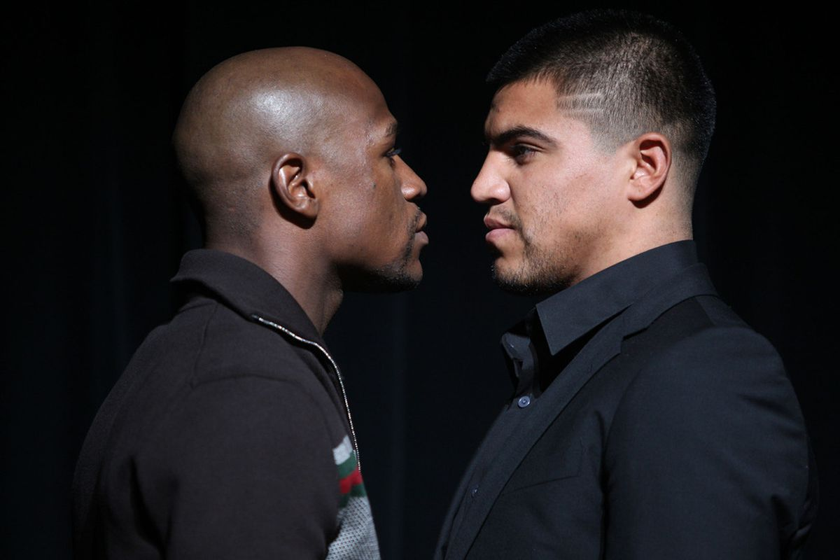 Floyd Mayweather Jr and Victor Ortiz meet on September 17. (Photo by Daniel Barry/Getty Images)