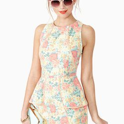 "<b><a href=""http://www.nastygal.com/clothes-dresses/sweet-bloom-peplum-dress"">Nasty Gal</a></b> sweet bloom peplum dress, $68"