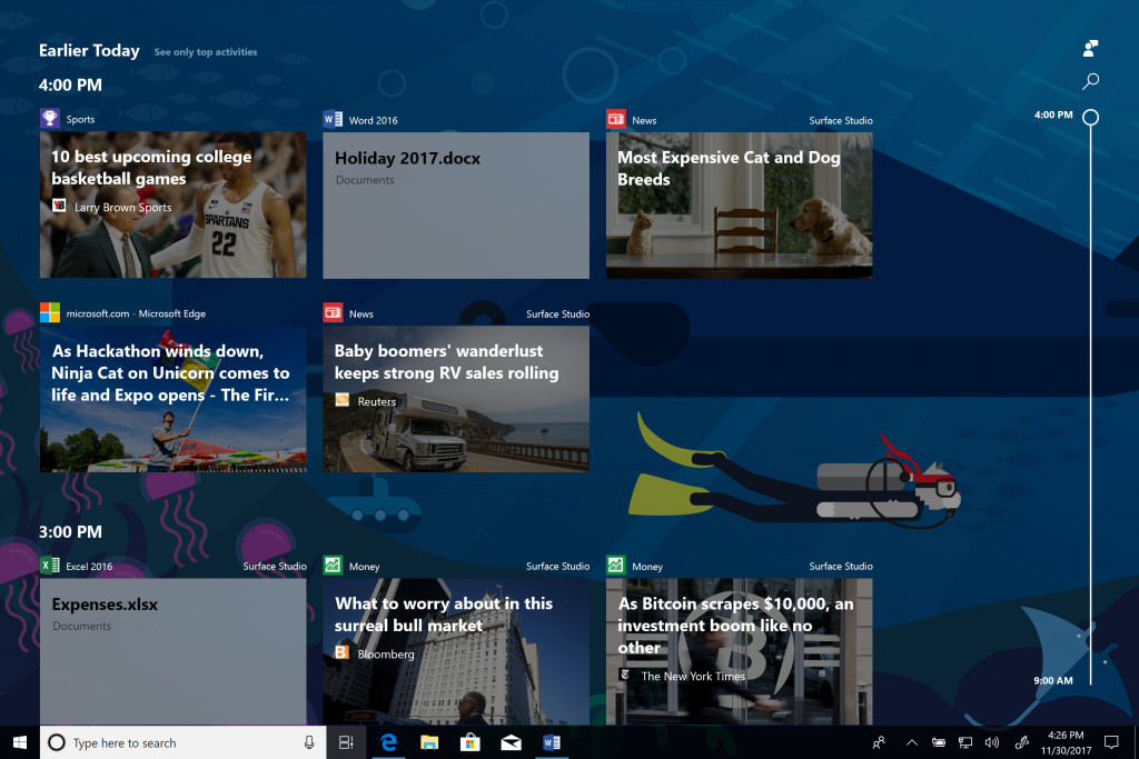 microsoft starts testing windows 10 s timeline and app tabs features