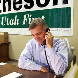 Rep. Jim Matheson talks on the phone in West Jordan, Monday, Oct. 1, 2012.