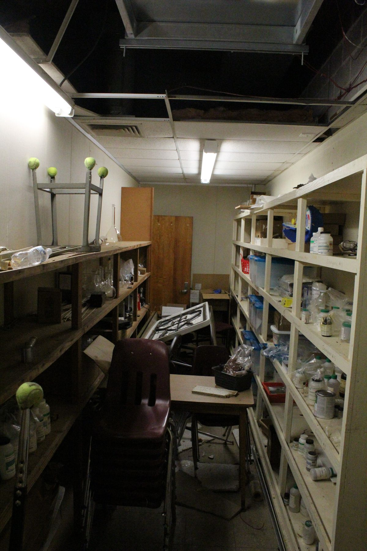 Most of the chemicals and supplies in Shivers' lab closet are outdated or unusable.