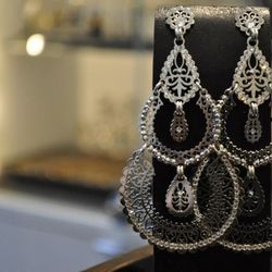 Handmade silver filagree and Swarovski crystal earrings, $250