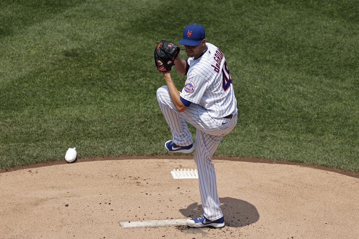 Jacob deGrom #48 of the New York Mets pitches in the first inning against the Milwaukee Brewers during game one of a doubleheader at Citi Field on July 7, 2021 in the Flushing neighborhood of the Queens borough of New York City.
