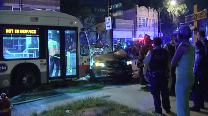 The aftermath of a collision last July 6 involving a sport-utility vehicle and a CTA bus on Pulaski Road in North Lawndale. | Network Video Productions
