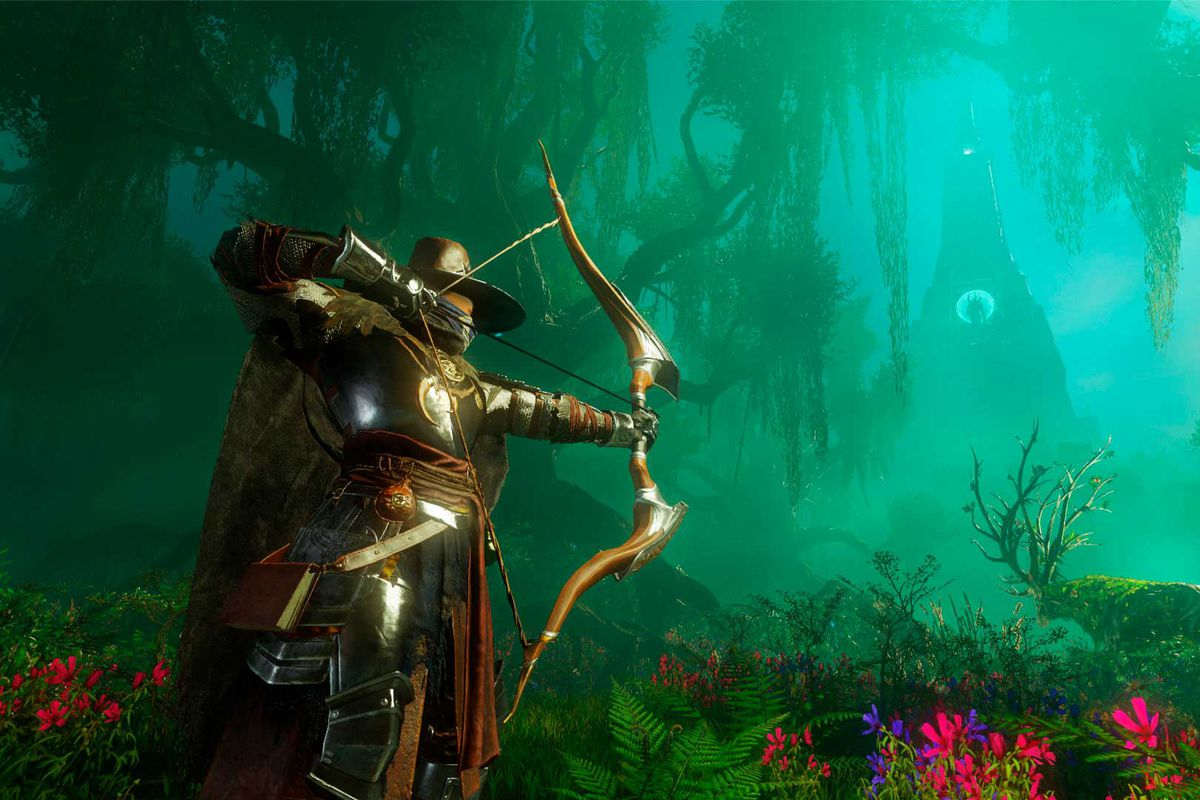 An armored archer aims his bow in a screenshot from Amazon Game Studios' New World