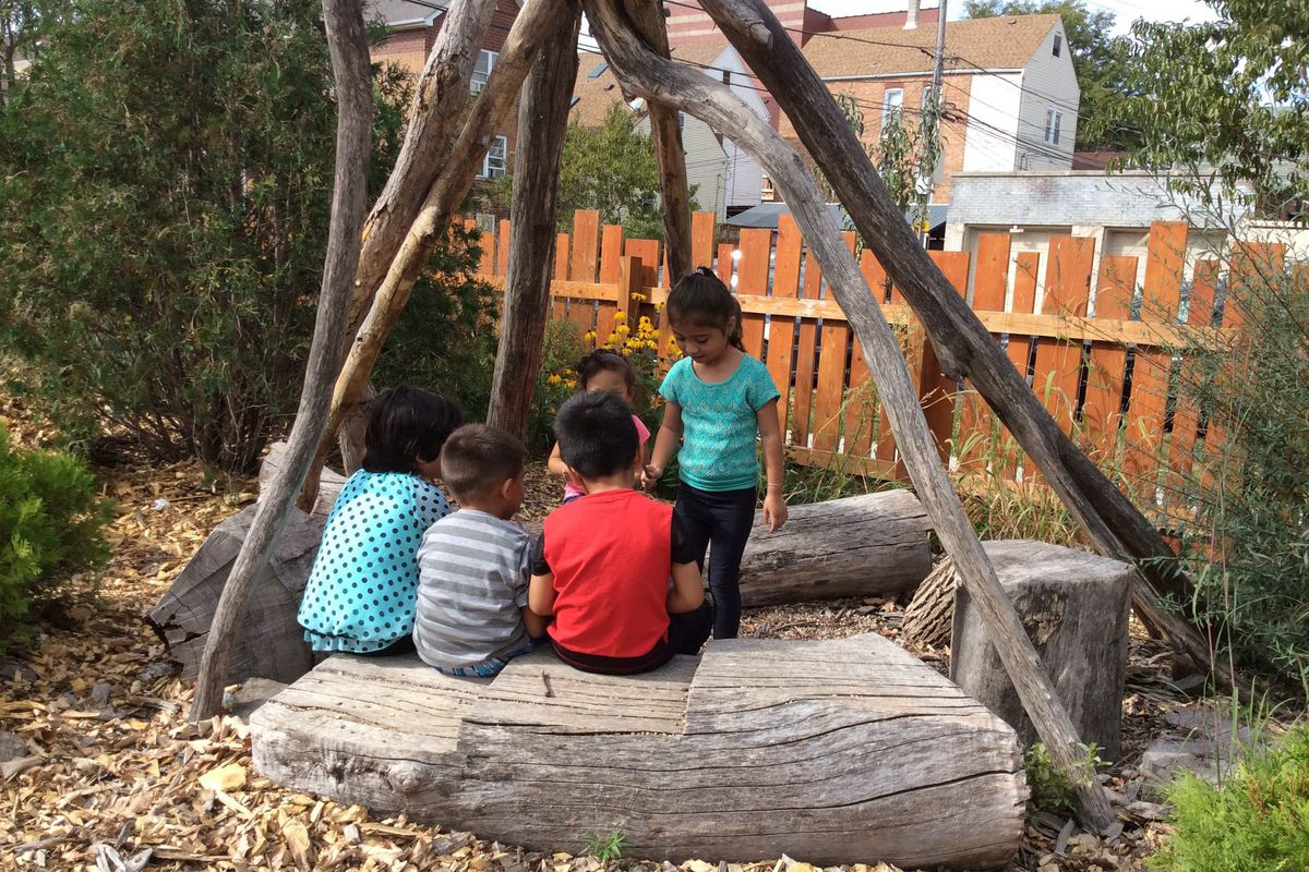 Fong says a nature playground is a space where play happens with natural and loose materials like rocks, pebbles, trees, stumps, boulders and plants.