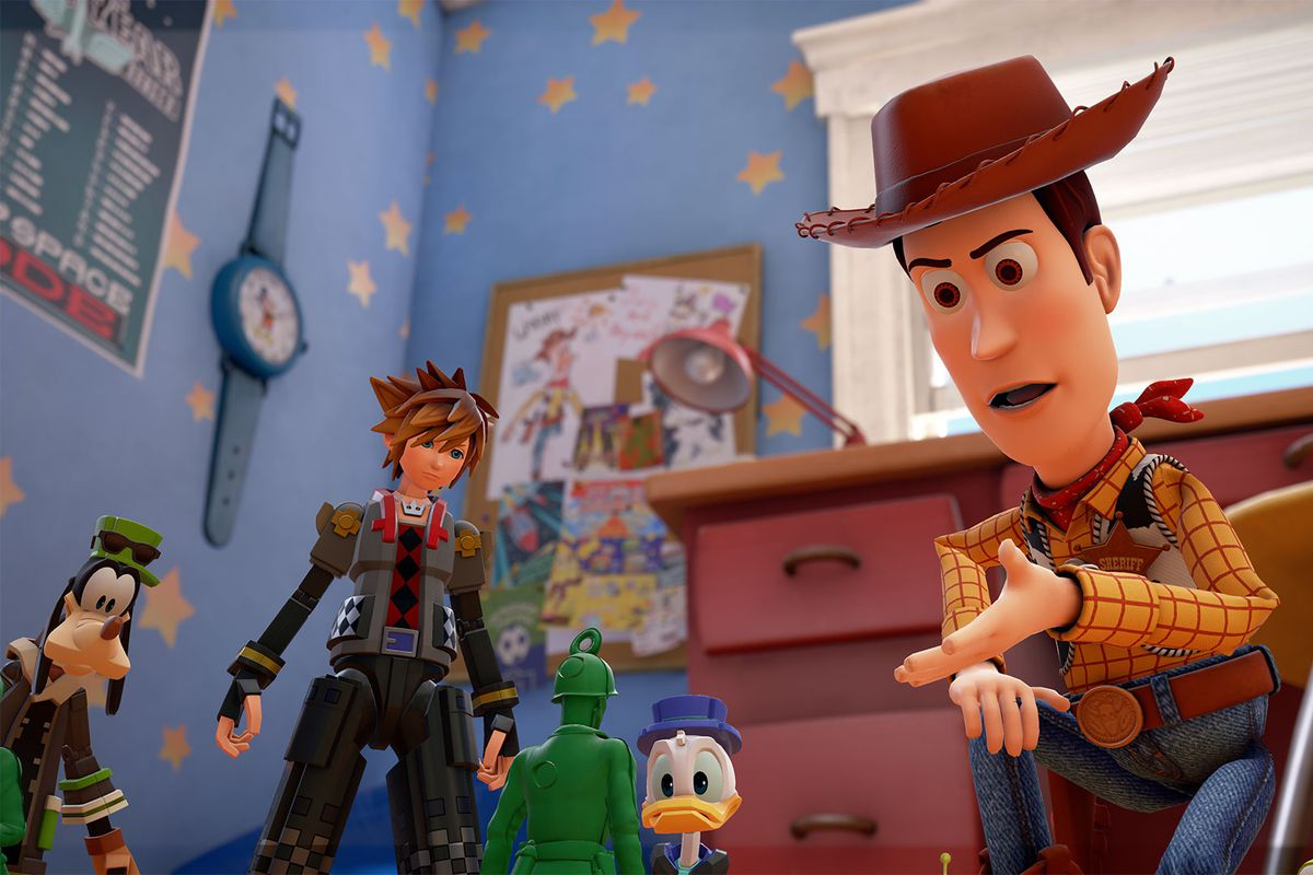 Woody, Sora, Donald and Goofy chat with an Army Man in a screenshot from Kingdom Hearts 3.