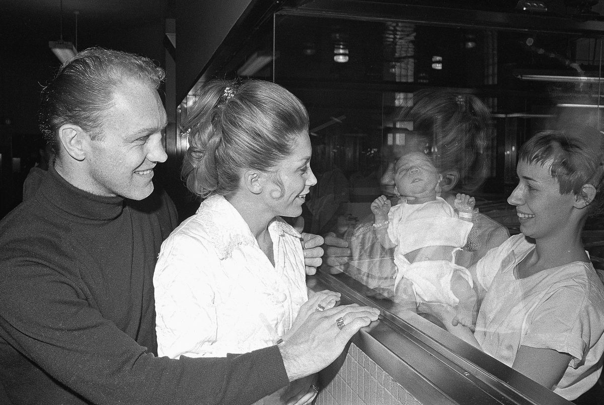 Bobby Hull with Wife and New Baby