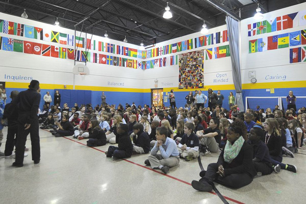 Students gather in the gym on a Wednesday morning in February at IPS School 27, a Center For Inquiry magnet school.