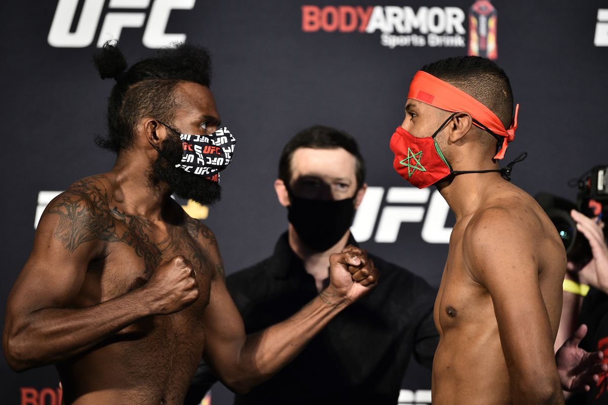 Opponents Jordan Griffin and Youssef Zalal of Morocco face off during the UFC weigh-in at UFC APEX on June 26, 2020 in Las Vegas, Nevada.