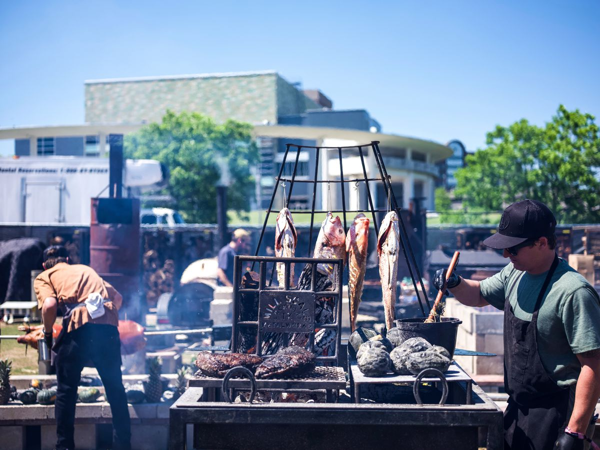 Smoking fish at the fire pits at Austin Food & Wine Festival 2019