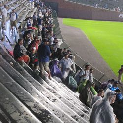 8:40 p.m. Fans watching the Blackhawks game in right field -