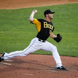Salt Lake Bees pitcher Drew Gagnon (25) throws a pitch during a game against the Las Vegas 51s at Smith's Ballpark in Salt Lake City on Monday, June 5, 2017.