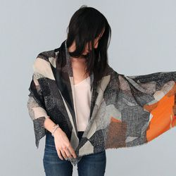 """<b><a href=""""http://wokinggirldesigns.myshopify.com/"""">Helen Dealtry:</a></b> Because her scarves blur the lines between artwork and apparel."""