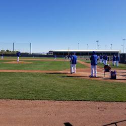 Wide shot of fielding drill