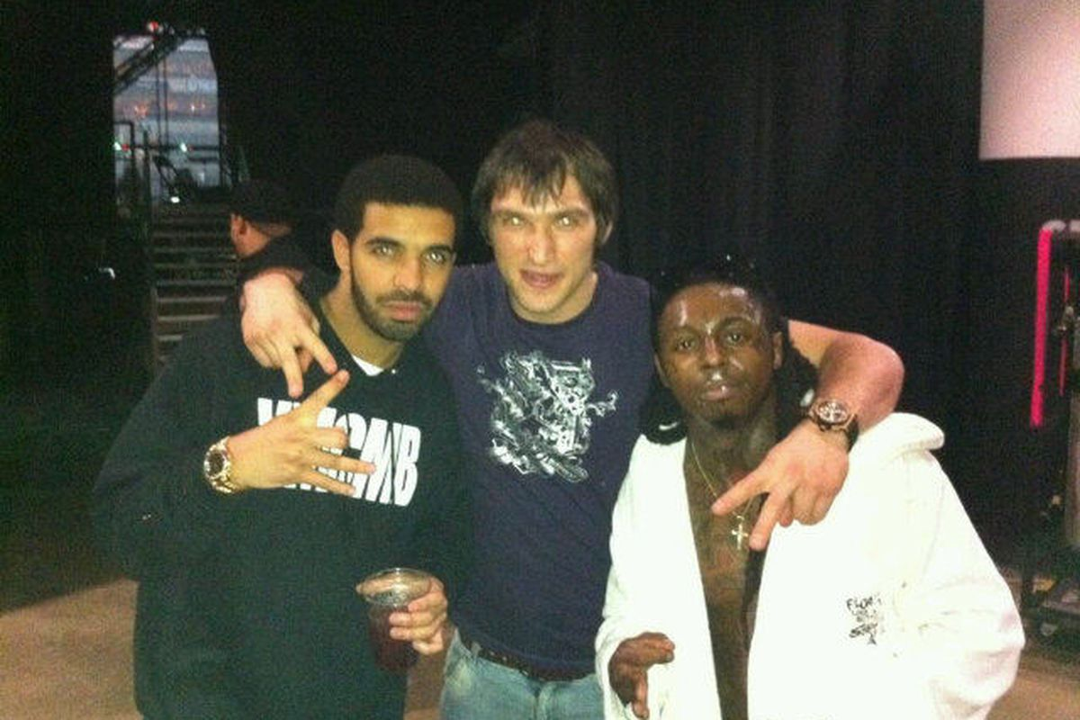 Alexander Ovechkin is the one in the middle.