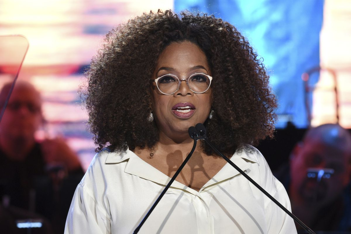 Oprah Winfrey speaks at the Statue of Liberty Museum opening celebration at Battery Park in New York on Wednesday.