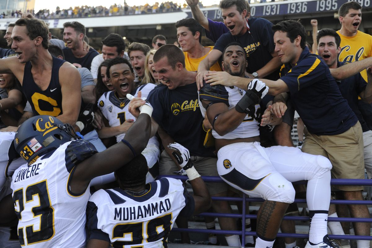 Cal storms old student sec. after Cals Offense storms overs over NUs Def. in the first half